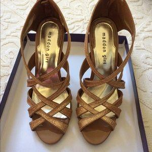 Madden Girl size 7.5 Digitt gold glitter heels