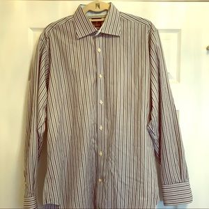 Tailor Byrd large Blue striped button down shirt