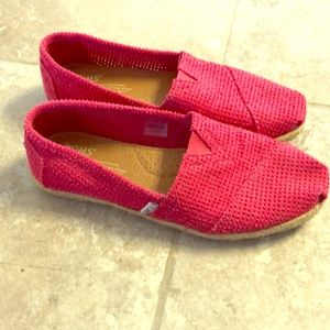 TOMS Red Classic Weave Flats