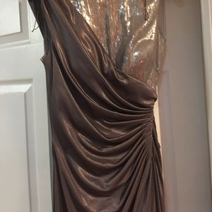 Worn once tan evening gown.