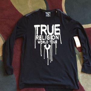True Religion L/S Crew Neck Black Size XL NWT