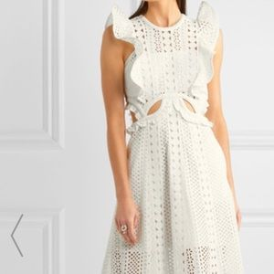 Self-Portrait Ruffled cutout lace midi dress