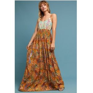 Anthropologie Raga Parkland Gold Maxi Dress Size M