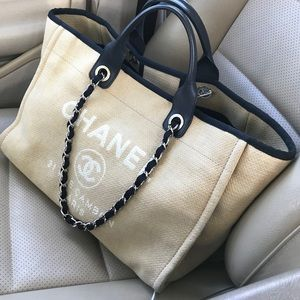 Authentic Chanel Deauville Large Beige Tote