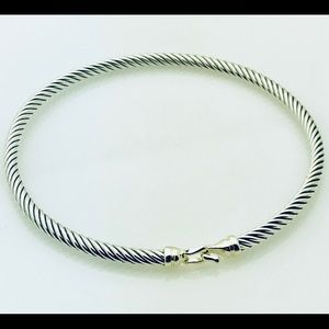 David Yurman Silver Cable Bracelet with Gold