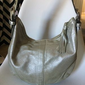 Coach Silver Dust Leather Tortilla Handbag