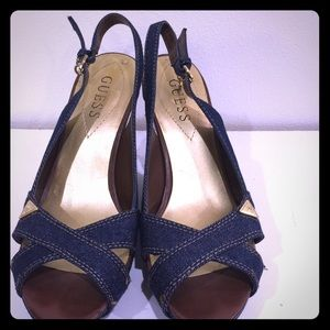 GUESS jean and gold wedge sandals - excellent!