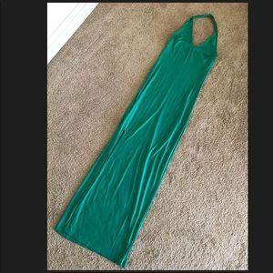 GUESS Maxi Halter Slit Dress.Green.Small