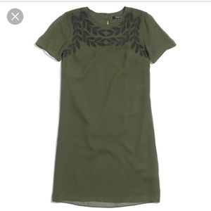 Madewell S Small green silk Embroidered dress
