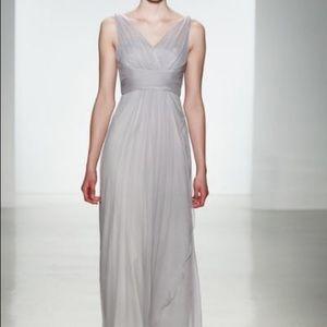 Amsale bridesmaids dress in Mallard Green