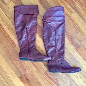 Ox blood red tall boots