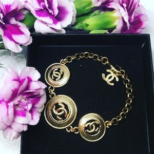 Chanel Style Bracelet Yellow Gold Plated