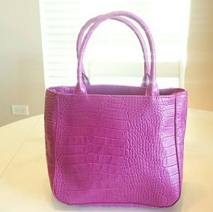 Express Leather Pink Croc Embossed Purse B4
