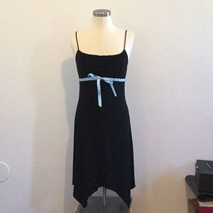 Black dress with blue bow