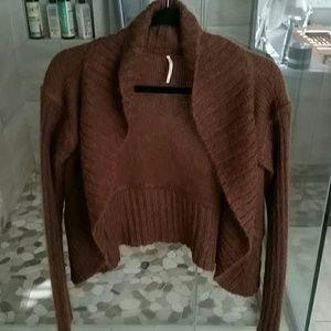 Free People brown sweater cardigan sz m