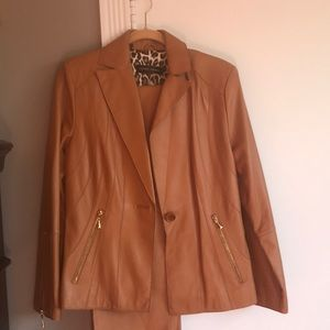 Terry Lewis leather pant suit. Worn only once ..