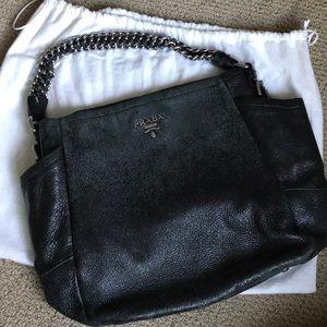 Black Cervo Lux leather Prada Hobo Bag