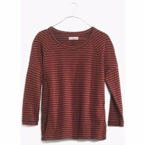 Madewell 3/4 Stripe Side Button Sweatshirt M