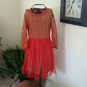 Red and Gold Lace Dress
