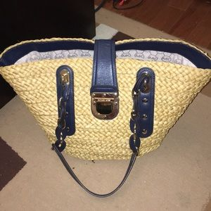 Michael Kors Blue Wicker Bag W/ Gold Hardware