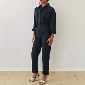 VINTAGE | 80s Black Cotton Long Sleeve Jumpsuit