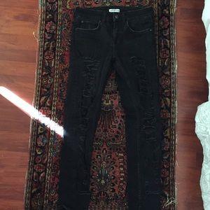 Zara woman ripped black jeans
