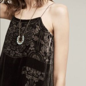 Anthropologie Floreat Velvet Burnout Slip  Dress