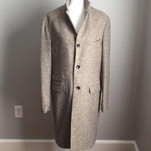 Men's wool herringbone unlined topcoat
