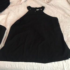 Paper crane high neck black halter shirt