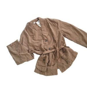 Unstructured tan belted jacket