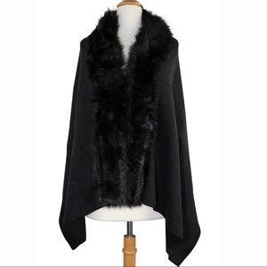 Black Faux Fur Trim Cape Poncho Shawl