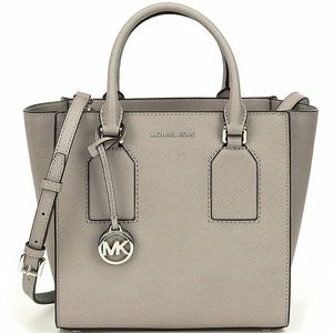 MICHAEL KORS selby pearl grey satchel leather