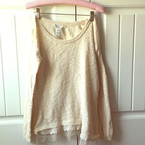 American Rag cream sweater with tulle detail