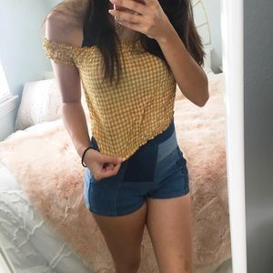 Brandy Melville Yellow Gingham Top