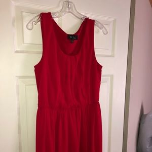 Red cinched waist dress