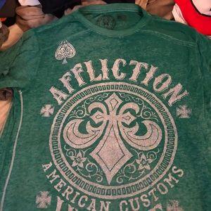 Affliction Green t-shirt Large