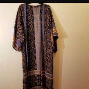Patterned duster kimono