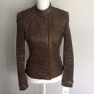 French connection genuine leather jacket size 2