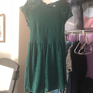 Emerald green lace dress from H&M size 14 DIVIDED