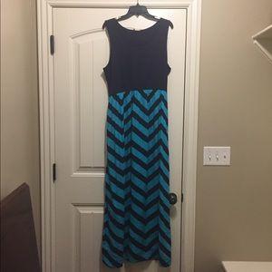Navy and teal chevron maxi dress