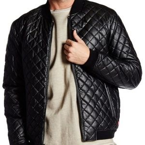 Levi's Faux Leather Diamond Quilted Bomber Jacket