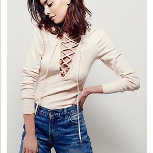 Free People lucky lace up long sleeve