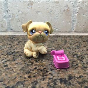 Littlest Pet Shop LPS Bulldog puppy Pink Magnet