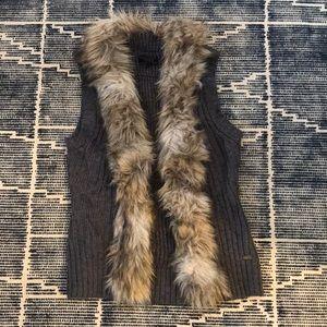 Faux fur and knit vest