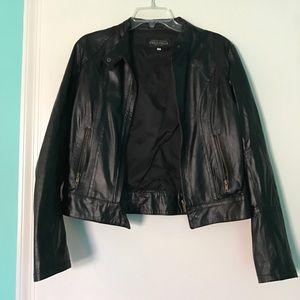 Vera Pelle Italian Black Leather Moto Jacket Sz 44
