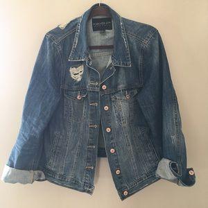 Plus forever 21 distressed jean jacket NWOT