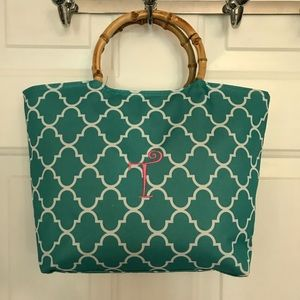 Initial Letter T Teal White Insulated Zip Tote Bag