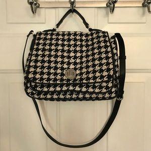 Vera Bradley Black White Houndstooth Satchel Bag