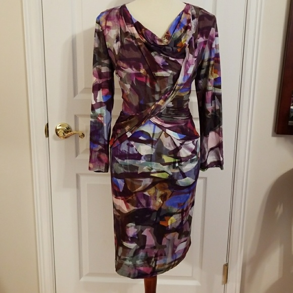 9215756064df Escada Dresses   Skirts - Escada multicolor print cowlneck midi dress sz44