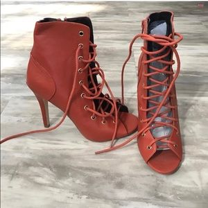 Rust Lace Up Booties
